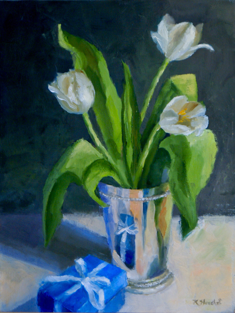 "Birthday Tulips, 2017      oil on birch panel, 9"" X 12""      SOLD"