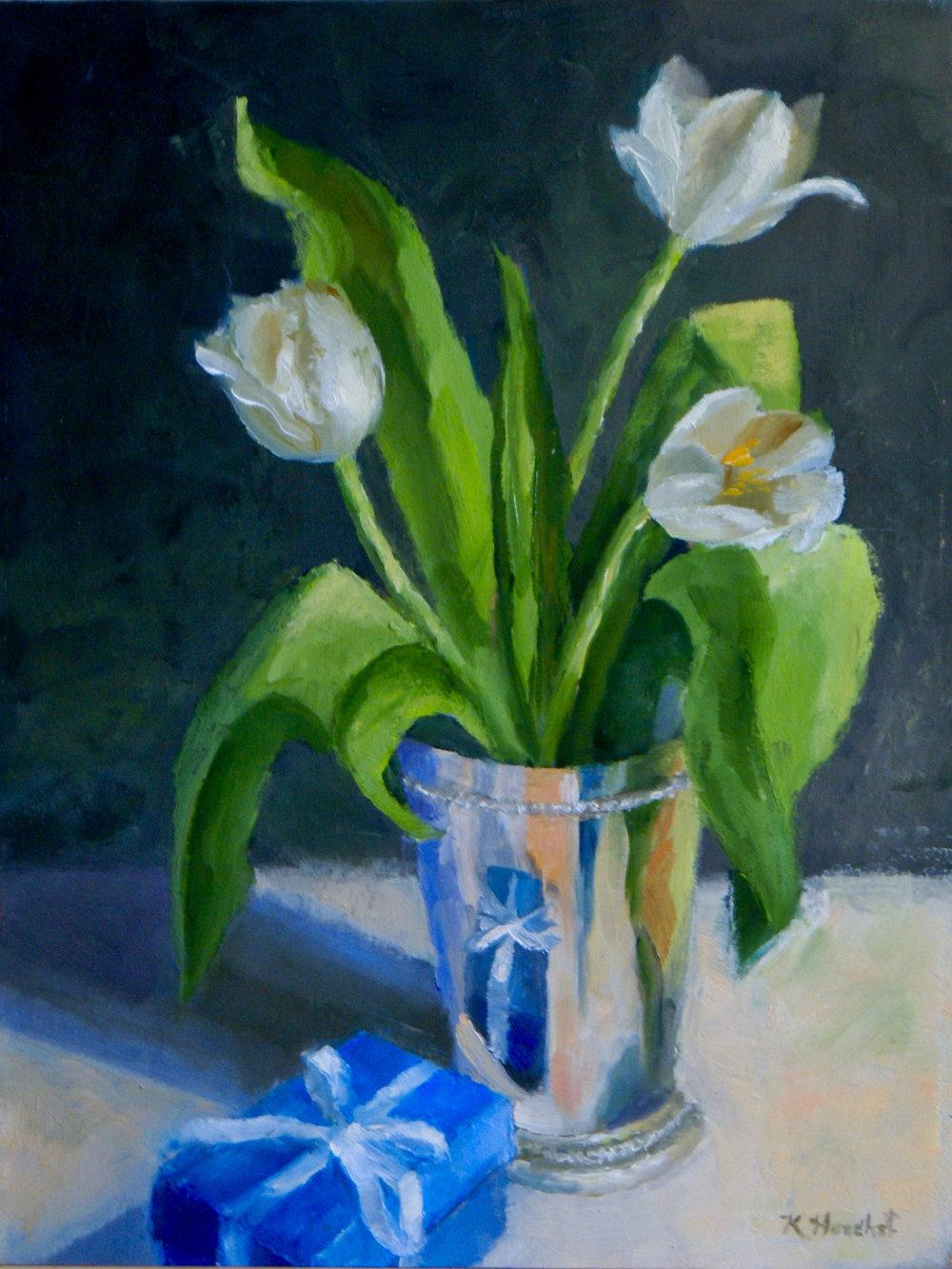 "Birthday Tulips, 2017      oil on birch panel, 9"" X 12""      SOLD"