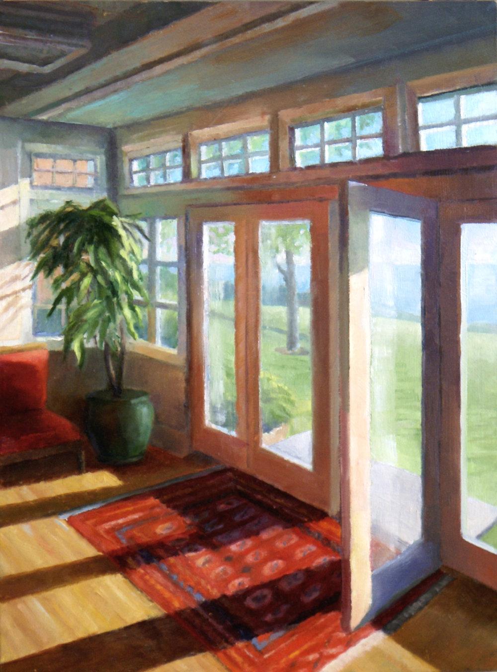 "Shelburne Sun Room,  2017    oil on birch panel, 12 X 16""    SOLD"