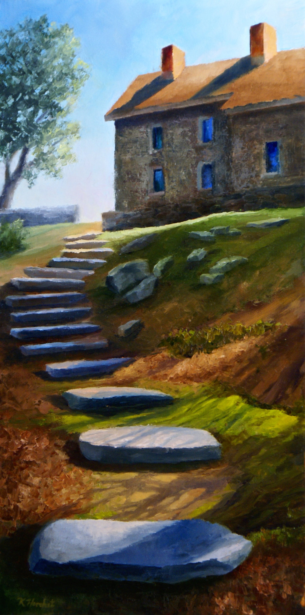 "Newlin Stepping Stones, 2017      oil on birch panel, 10"" X 20""      AVAILABLE"