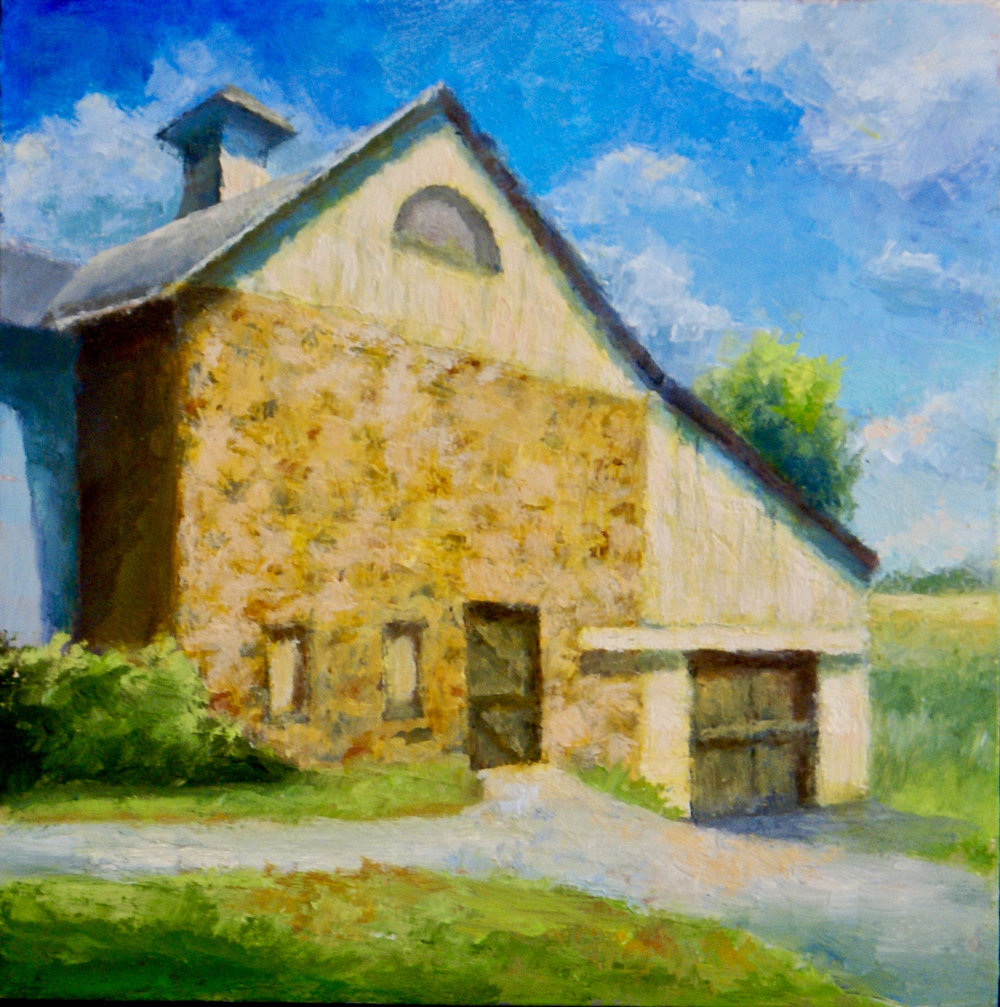 "Brandywine Barn      Oil on Masonite, 6"" X 6""     SOLD"