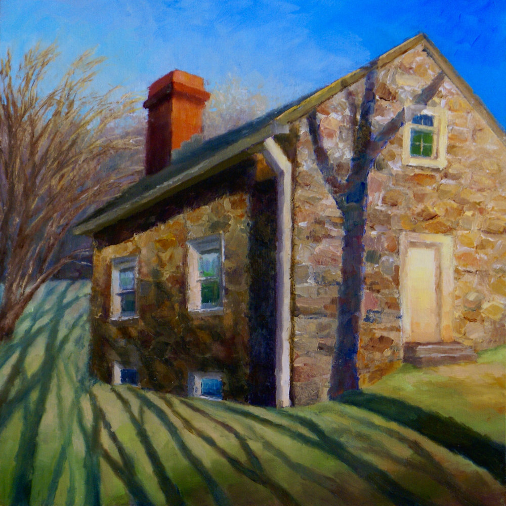 """Polecat Road House, 2017     oil on linen panel, 12"""" X 12""""    SOLD"""