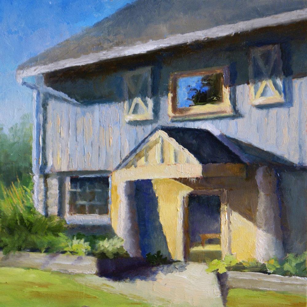 """Concord Pike Barn, 2017     Oil on Masonite, 6"""" X 6""""    SOLD"""