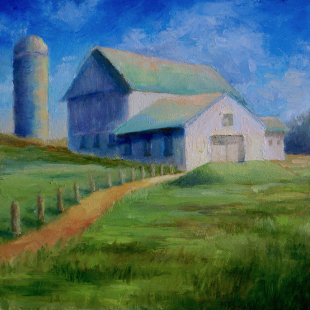 "White Barn       oil on masonite, 6"" X 6""      SOLD"