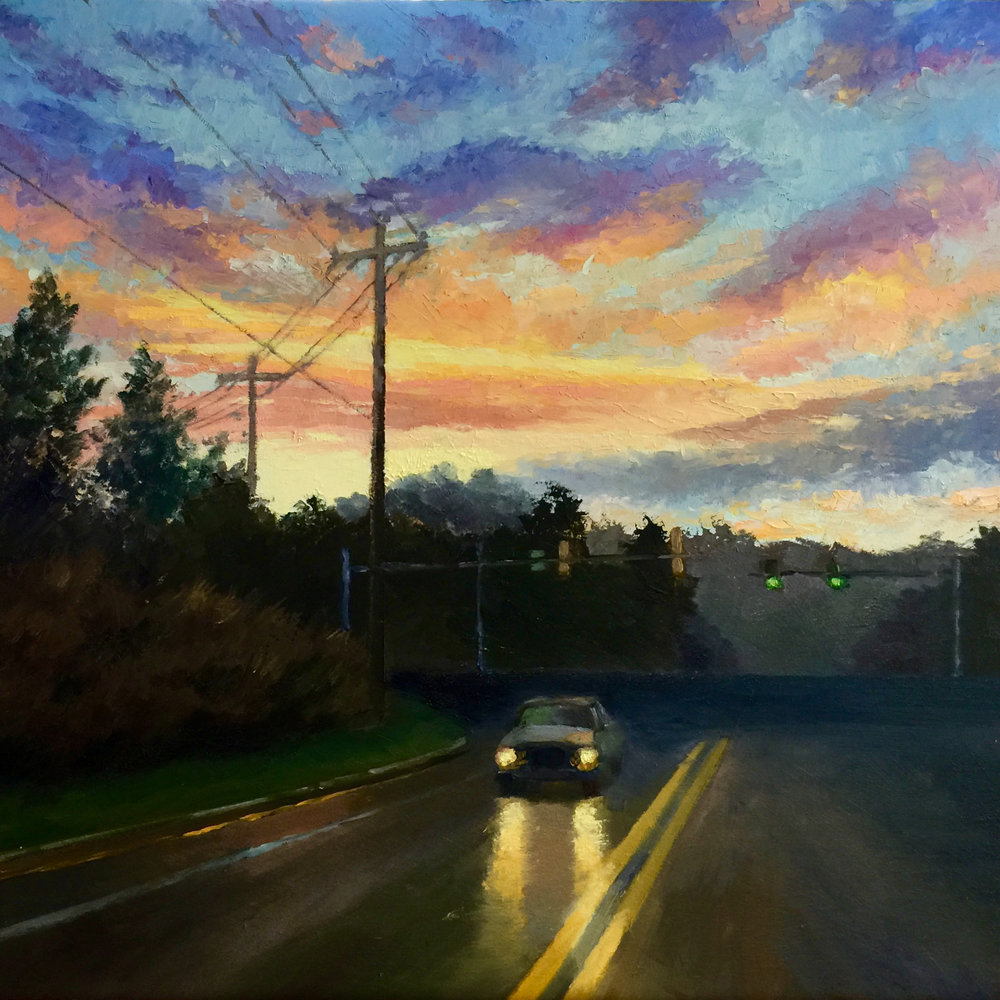 "Daybreak Drive,  2018    16"" X 16,"" oil on wood panel,    SOLD"