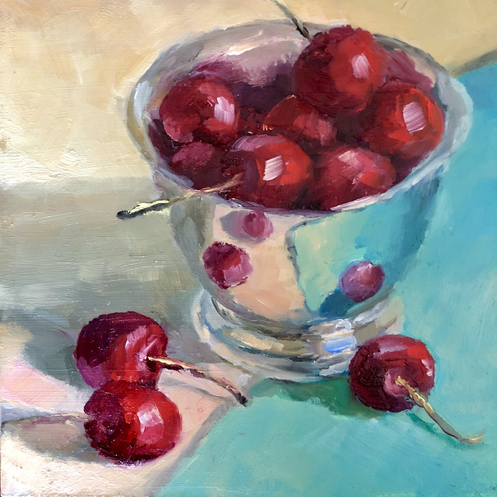 Bowl of Cherries -      Delaware County Studio Tour County Collector     oil on hardboard, 6 x 6    AVAILABLE 10/20/18