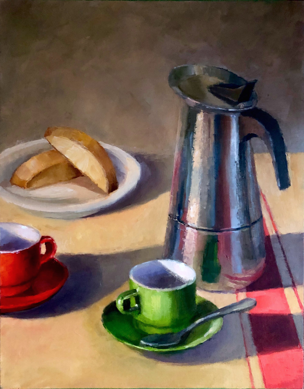 "Double Espresso     11 x 14,"" oil on linen panel    NEWLY AVAILABLE"