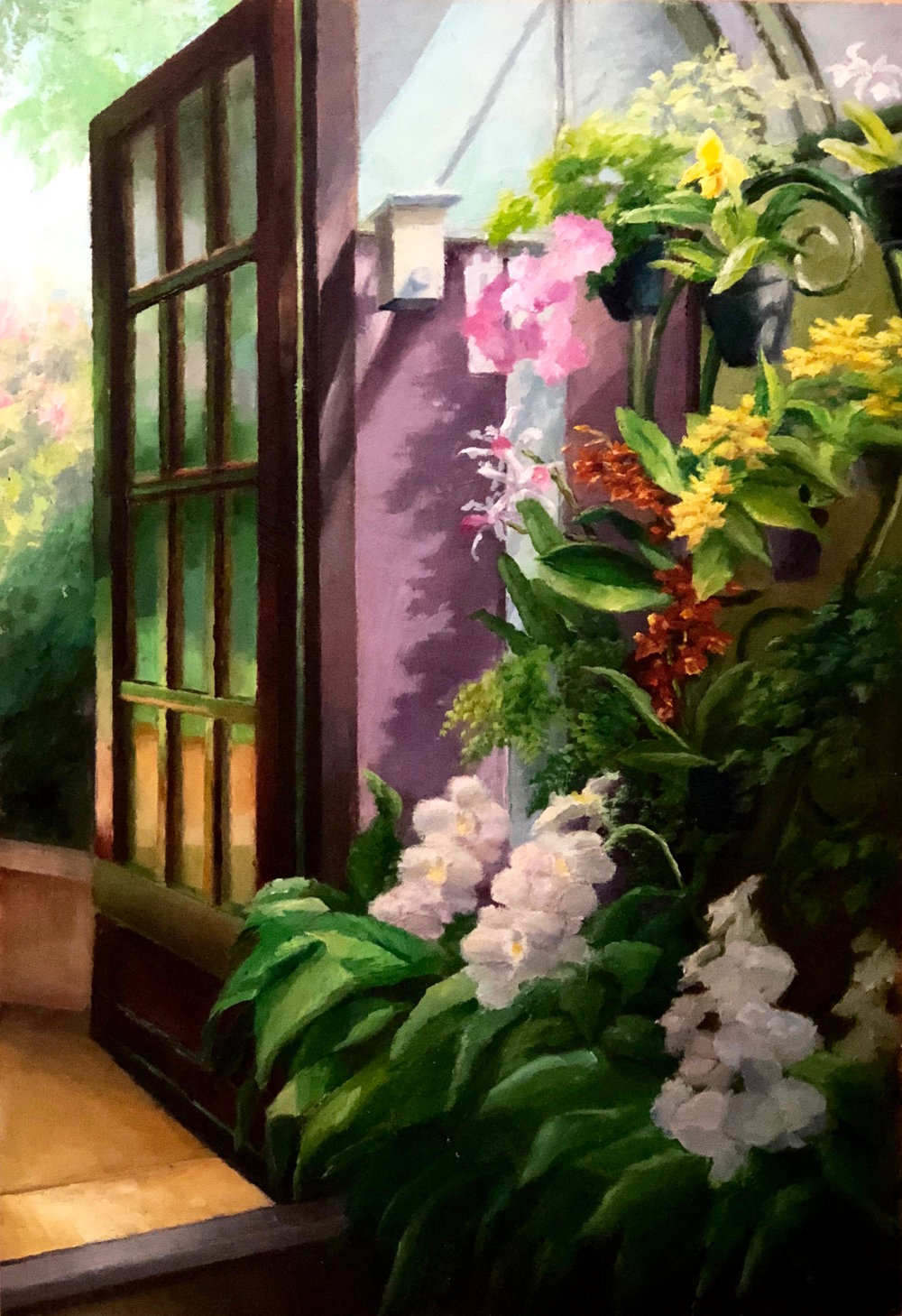 "Orchid Room at Longwood     oil on wood panel, 12 X 18""    NEWLY AVAILABLE"