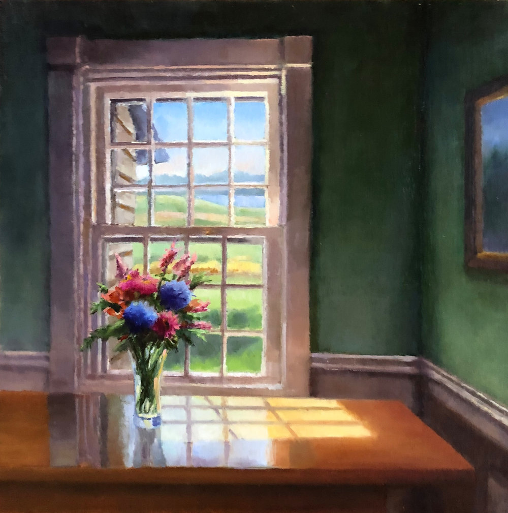 """Room with a View     (Vermont Cottage Kitchen Window)    oil on linen panel, 12 X 12""""    SOLD"""