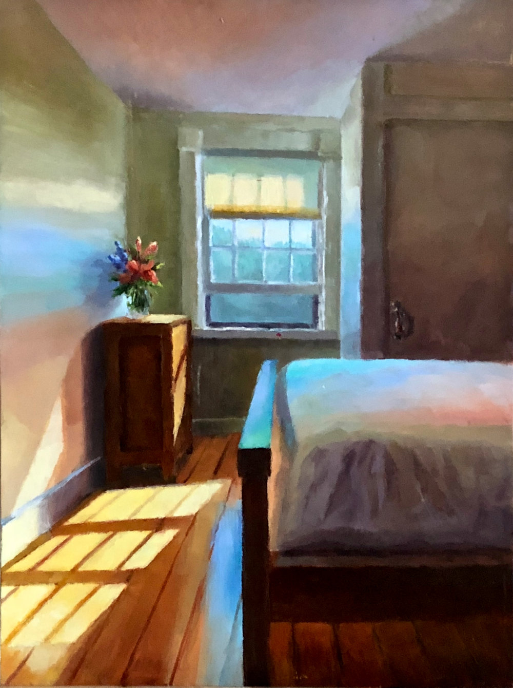 """Vermont Cottage Bedroom     Oil on Copper, 9 X 12""""    SOLD"""