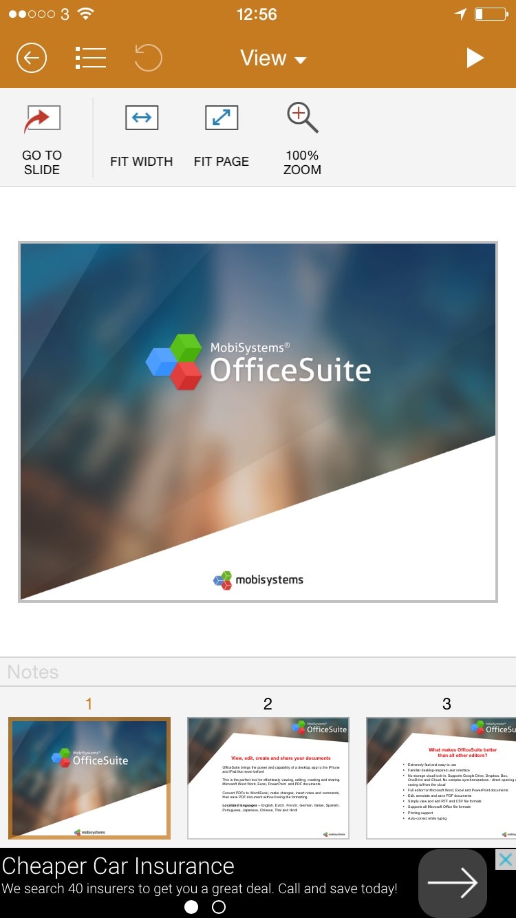 MobiOffice PowerPoint View menu