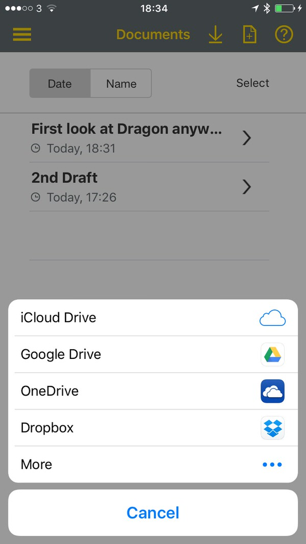 Dragon Anywhere On line Documents