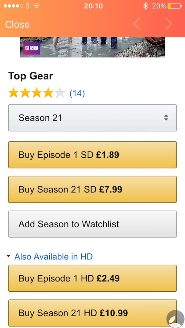 Utelly Top Gear Season 21 Amazon pricing.