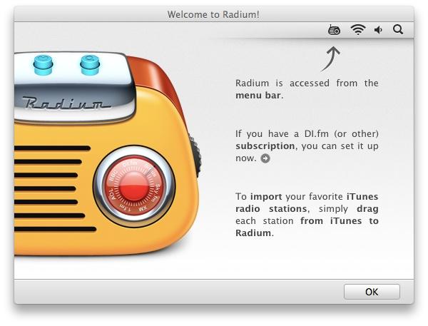 Radium Welcome Screen