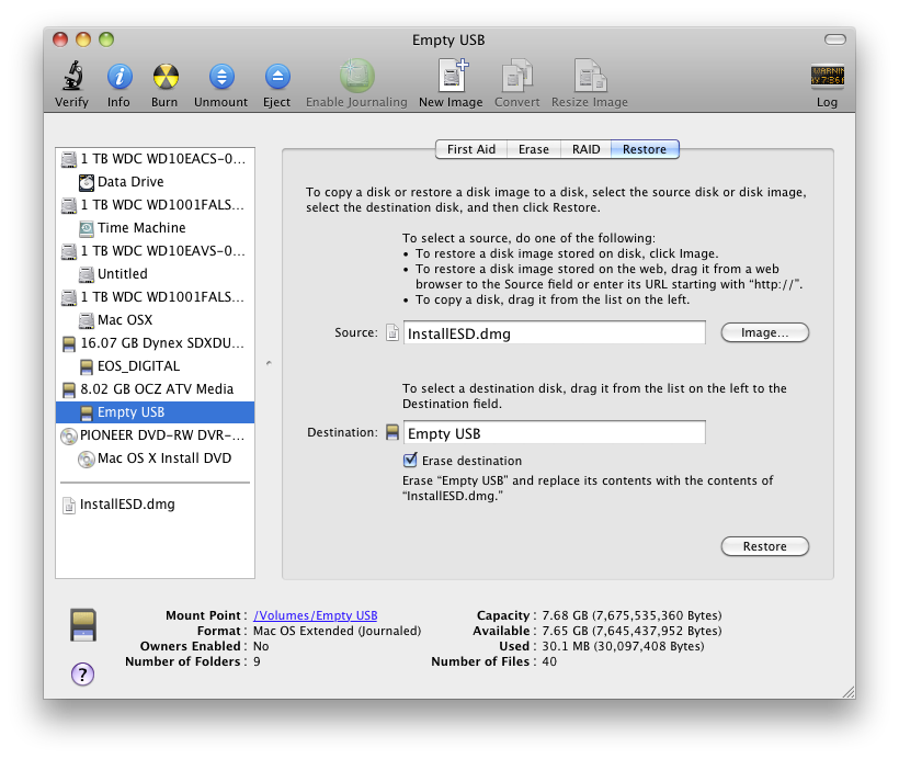 Installing Clean OSX Lion from a DVD or USB stick
