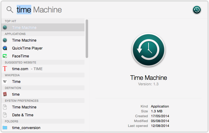 OS X Yosemite Time Machine Backups.