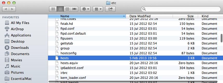 hosts file in finder