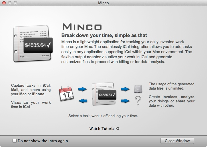 Minco - Introduction Screen