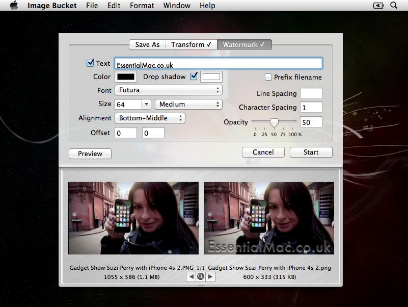 Image Bucket - Watermarking Window
