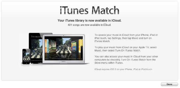 iTunes Match Completed.