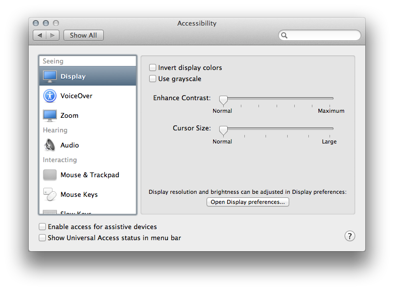 OSX 10.8 Mountain Lion Accessibility