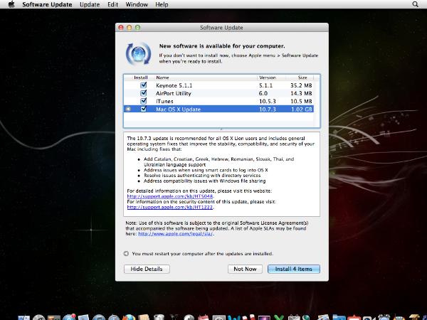Mac OS X Software Update 10.7.3