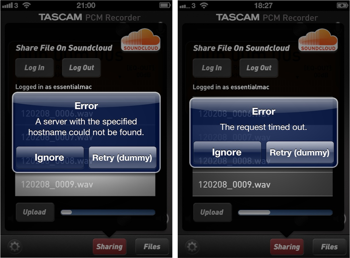 Tascam PCM Recorder Upload Errors