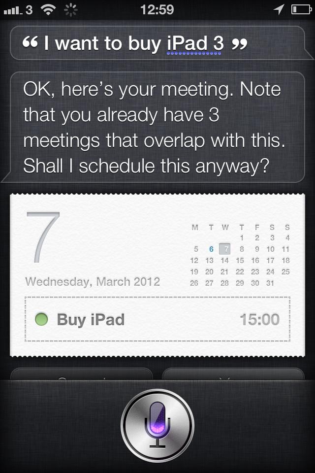 Siri iPad 3 statement
