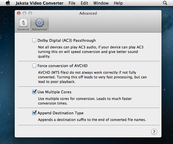 Jaksta Video Converter Preferences