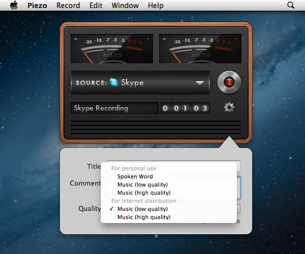 Piezo Recording Settings