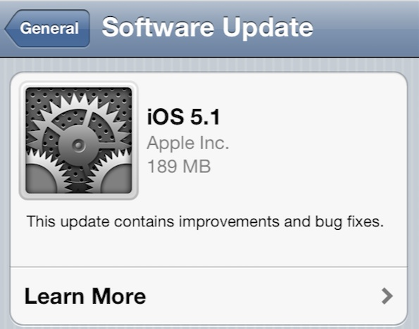 iOS 5.1 software update