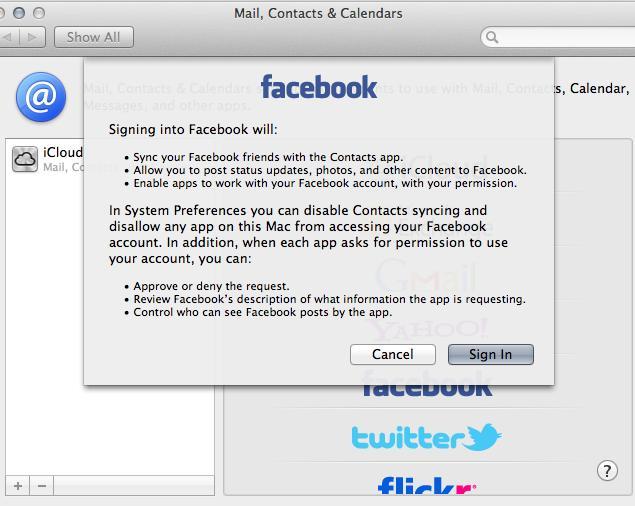 Mountain Lion Facebook Prefs