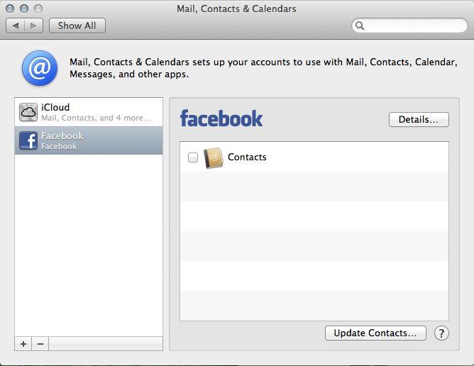 Mountain Lion Facebook Setup