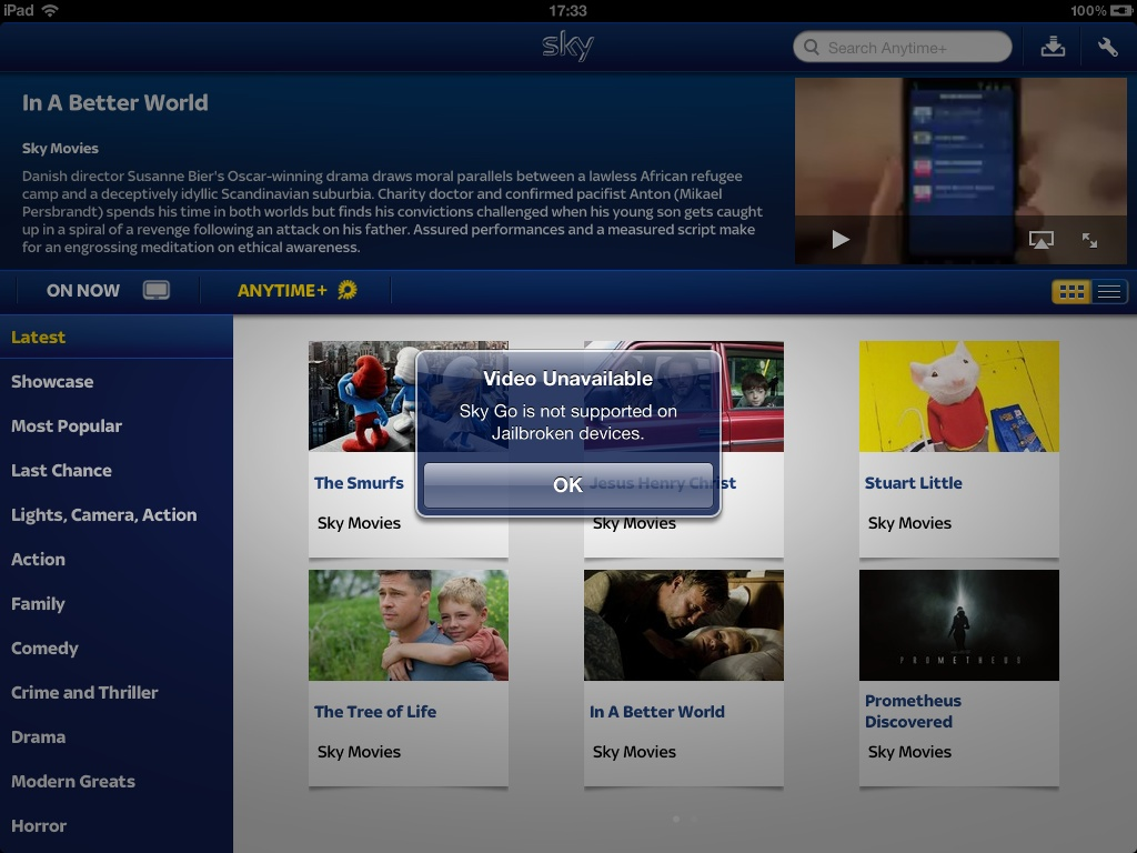Sky Go Doesnt Like Jailbroken Devices