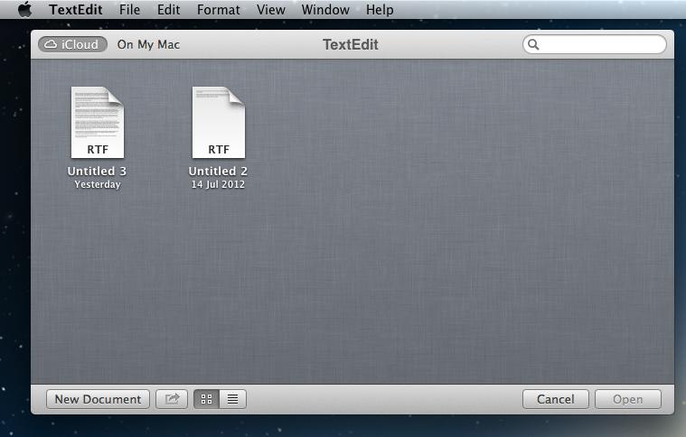 Mountain Lion iCloud Text Files