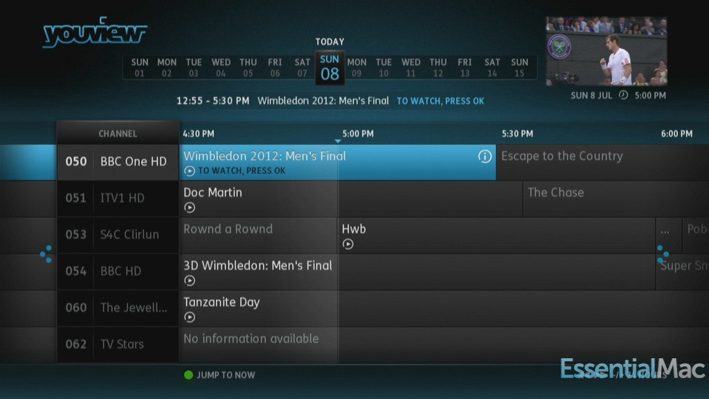 YouView EPG Guide