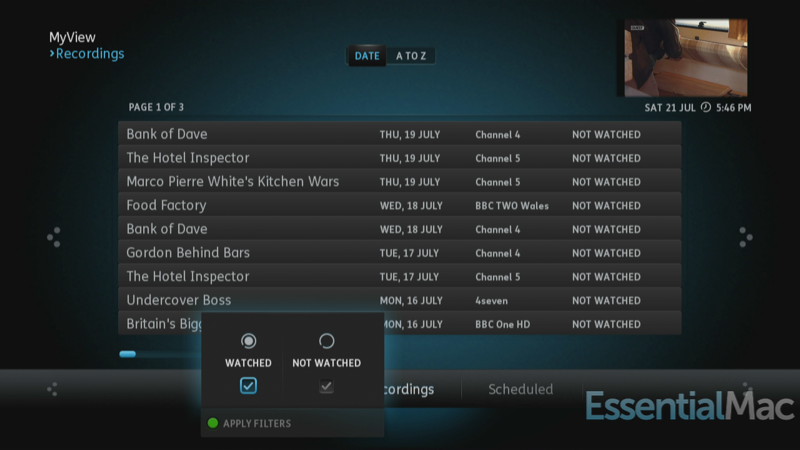 YouView My View Recordings