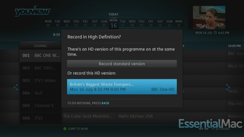 YouView Record In HD