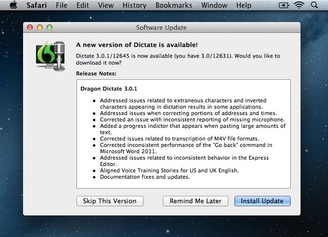 Dragon Dictate 3 update