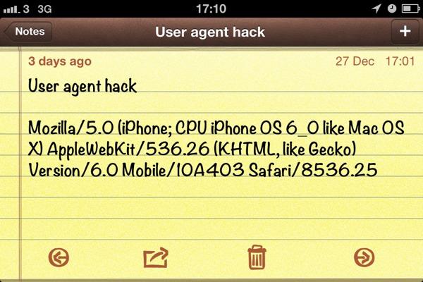 user agent info