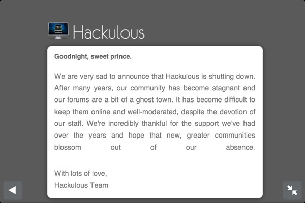 hackulous goodbye message