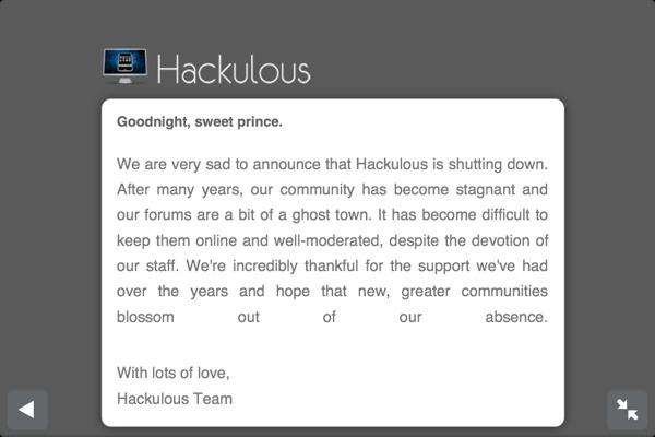 hackulous goodbye message