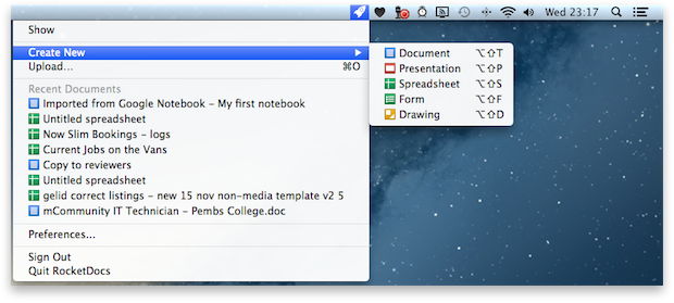 RocketDocs Menu Bar