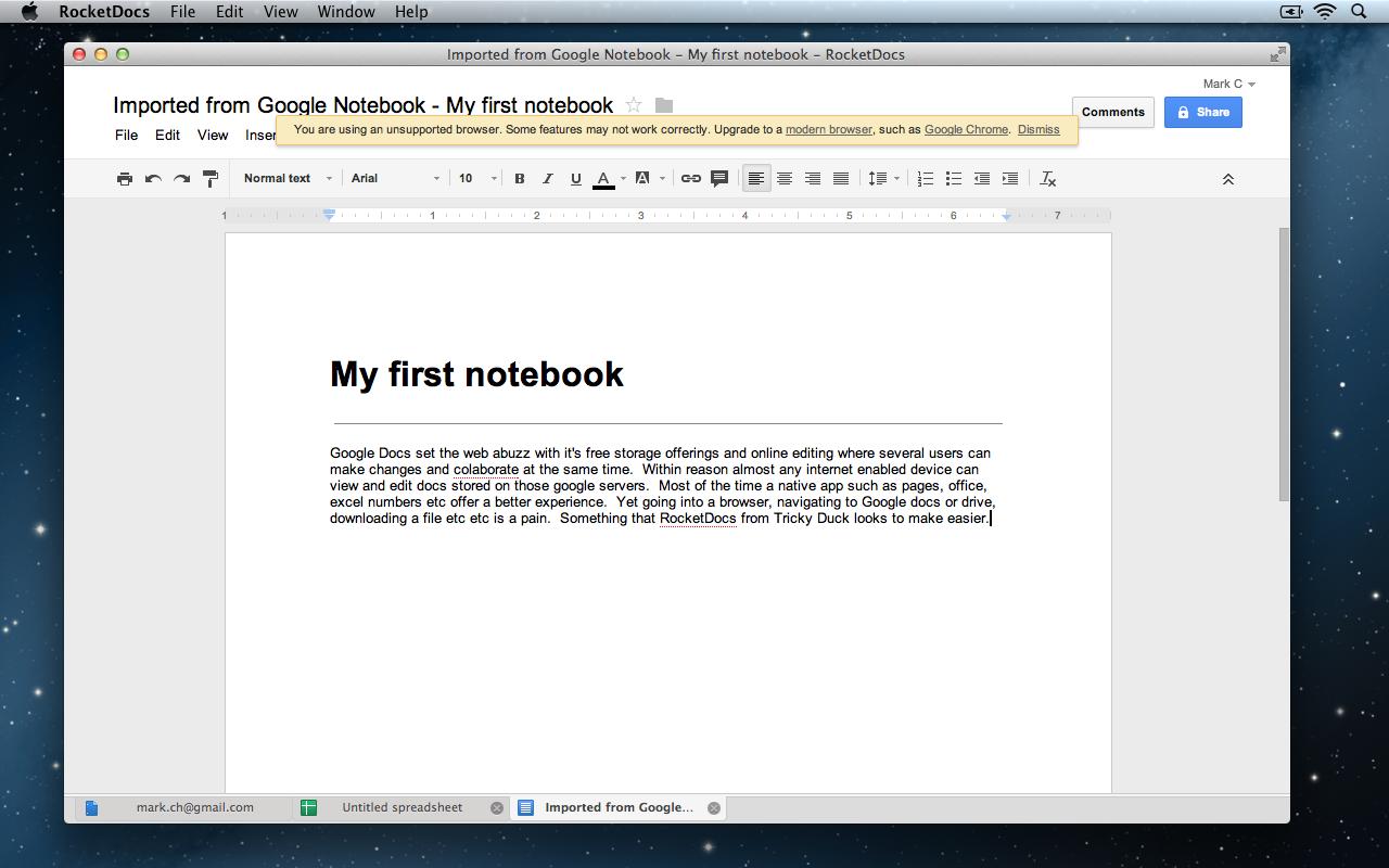 RocketDocs NoteBook