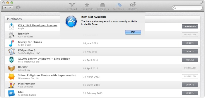 OS X Mavericks Developer Preview 4 Not AVailable in UK