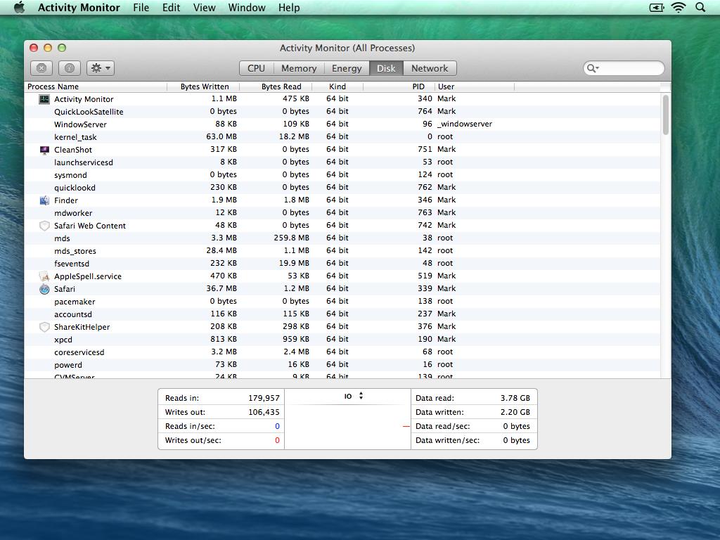 Mavericks Activity Monitor - Disk