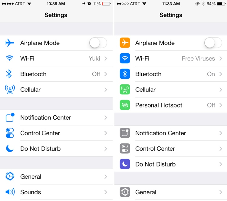 Settings - The icons in the Settings menu have seen a complete design, going from standard blue icons to a variety of square icons in various colors.
