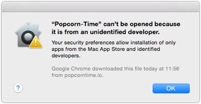 PopCorn-Time Cant Be opened