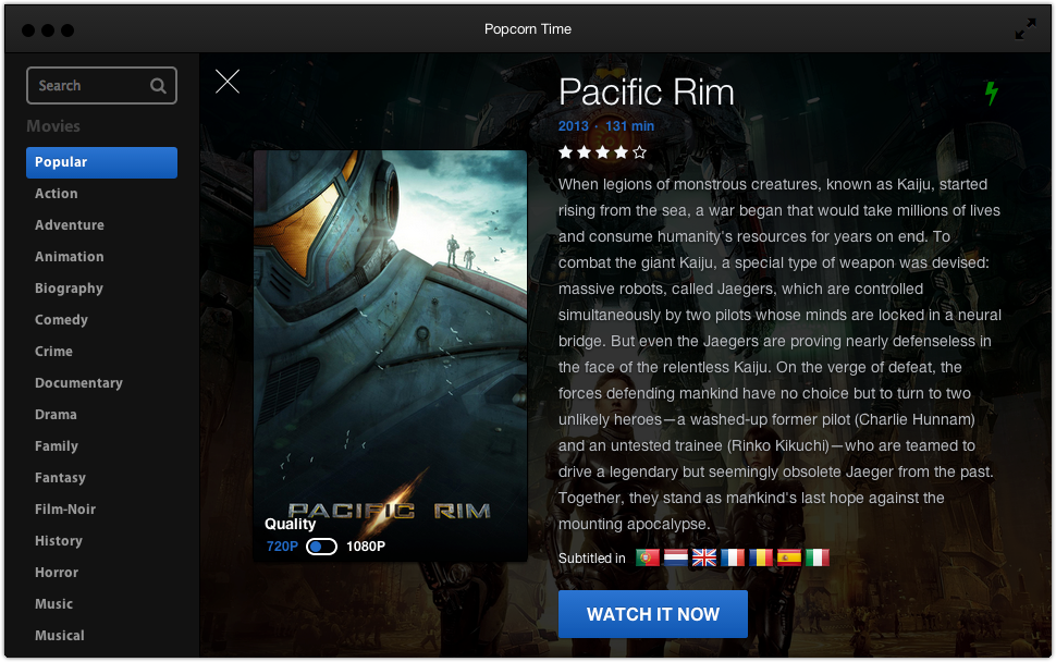 popcorn selection Popcorn Time.  Stream movies from Torrents