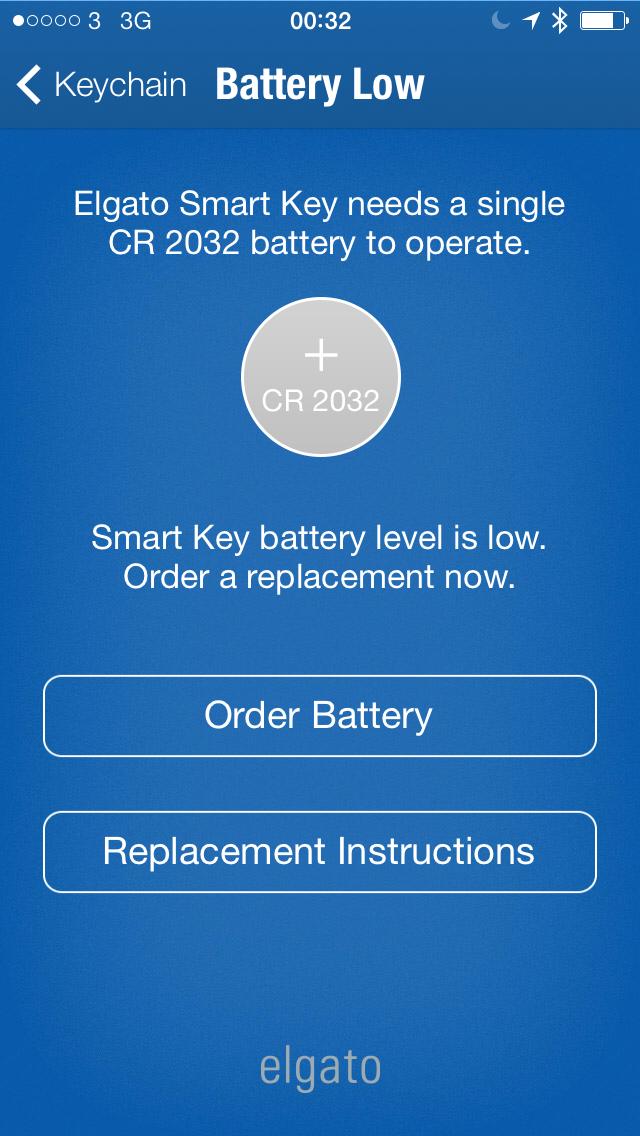Elgato Smart Key Battery Warning
